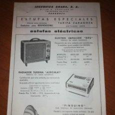 Catálogos publicitarios: IZUZQUIZA ARANA S.A. ZARAGOZA. ESTUFAS ESPECIALES. . Lote 171547042
