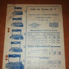 Catálogos publicitarios: APARATOS DE CALEFACCIÓN ELÉCTRICA Y USOS DOMÉSTICOS.1936. Lote 171548938