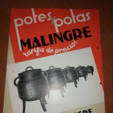 Catálogos publicitarios: FUNDICIONES MANUEL MALINGRE. ORENSE. PITEDY POTAD MALINGRE . Lote 171549644