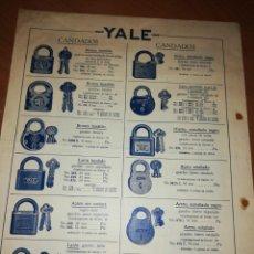 Catálogos publicitarios: YALE. CERRADURAS Y CANDADOS. . Lote 171550233