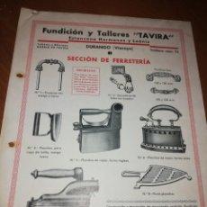 Catálogos publicitarios: FUNDICIÓN Y TALLERES TAVIRA. VIZCAYA . Lote 171550389