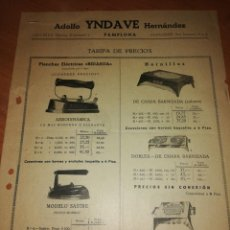 Catálogos publicitarios: ADOLFO YINDAVE HERNÁNDEZ. PAMPLONA. PLANCHAS, HORNILLOS, CAZOS, CAFETERAS,... AÑO 44. Lote 171550542