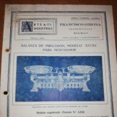 Catálogos publicitarios: ARTS & INDUSTRIES. FRANCISCO GIRONA. BILBAO. CATÁLOGO BALANZAS . Lote 171550624