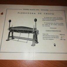 Catálogos publicitarios: TALLERES BLANCH LTDA. BADALONA. PLEGADORA DE CHAPA . Lote 171549875