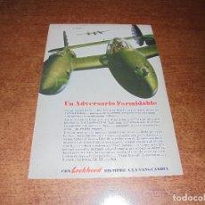 Catálogos publicitarios: PUBLICIDAD 1943: AVIÓN DE COMBATE LOCKHEED P-38LIGHTNING - PLUMAS SKYLINE EVERSHARP. Lote 171747170