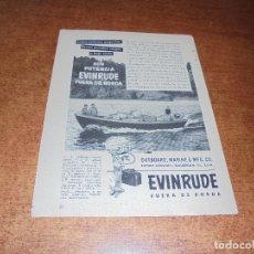 Catálogos publicitarios: PUBLICIDAD 1952: EVINRUDE FUERA BORDA. Lote 171775583