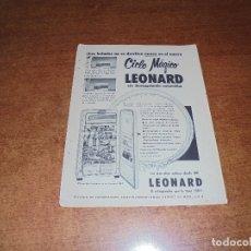 Catálogos publicitarios: PUBLICIDAD 1952: CICLO MÁGICO LEONARD REFRIGERADOR - KOTEX TOALLA SANITARIA. Lote 171775737