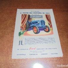 Catálogos publicitarios: PUBLICIDAD 1952: TRACTOR FORDSON MAJOR, PRODUCTO FORD FABRICADO EN INGLATERRA - WILLIAMS. Lote 171775744