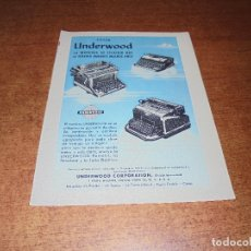 Catálogos publicitarios: PUBLICIDAD 1952: MÁQUINAS DE ESCRIBIR UNDERWOOD. Lote 171775759