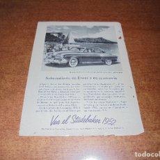 Catálogos publicitarios: PUBLICIDAD 1952: AUTOMOVIL STUDEBAKER 1952 - . Lote 171775807