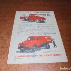 Catálogos publicitarios: PUBLICIDAD 1952: CAMIÓN INTERNATIONAL . Lote 171775915