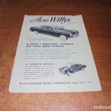 Catálogos publicitarios: PUBLICIDAD 1952: AUTOMOVIL AERO WILYS - GENERAL ELECTRIC RADIO. Lote 171775939
