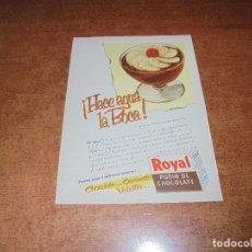 Catálogos publicitarios: PUBLICIDAD 1952: POSTRES ROYAL. PUDIN DE CHOCOLATE. Lote 171775990