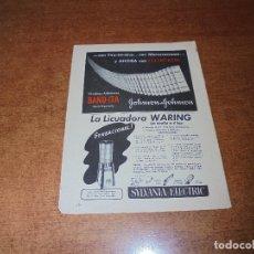 Catálogos publicitarios: PUBLICIDAD 1952: TIRITAS BAND-ITA - LICUADORA WARING - INSECTICIDA BLACK FLAG. Lote 171776118