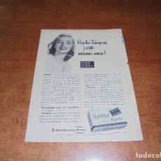Catálogos publicitarios: PUBLICIDAD 1952: TAMPAX - AQUA VELVA. Lote 171776147
