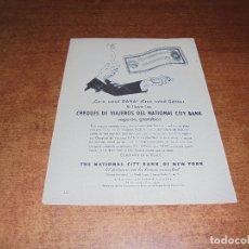 Catálogos publicitarios: PUBLICIDAD 1952: CHEQUES DE VIAJEROS NATIONAL CITY BANK - LENTES ORTHOREX BAUSCH & LOMB. Lote 171776192