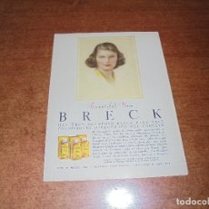 Catálogos publicitarios: PUBLICIDAD 1952: BRECK SHAMPOO. Lote 171776219