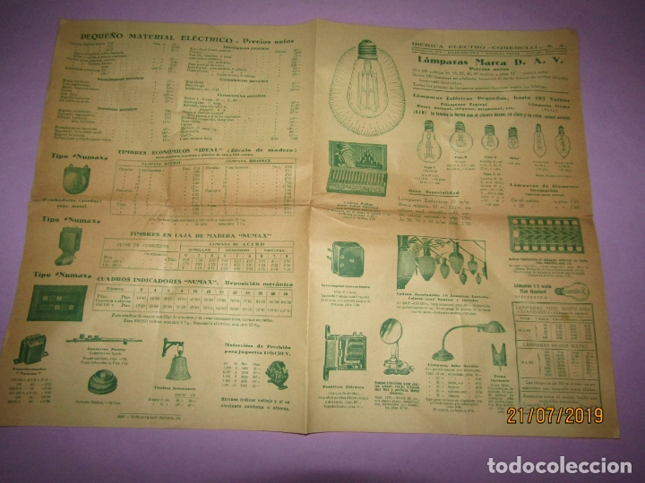 Catálogos publicitarios: Antiguo Catálogo de Pequeño Material Eléctrico y Lámparas de LÁMPARAS MARCA D.A.V. - Foto 4 - 171821775