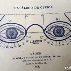 Catálogos publicitarios: CATÁLOGO DE ÓPTICA - MADRID - 1883 - E. GRASSELLI. Lote 172338735