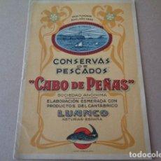 Catálogos publicitarios: LUANCO. ASTURIAS. CONSERVAS CABO DE PEÑAS. AÑOS 30. NOTA DE PRECIOS, CUADERNILLO. Lote 172360459