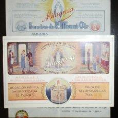 Catálogos publicitarios: LAMPARILLAS DE CERA MILAGROSA. MONZÓ PLA, ALBAIDA. DÍPTICO PUBLICITARIO Y LISTÍN DE PRECIOS. 1946.. Lote 172363487