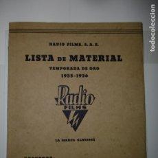 Catálogos publicitarios: CATÁLOGO RADIO FILMS - TEMPORADA 35 - 36. Lote 173189967