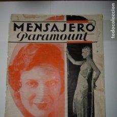Catálogos publicitarios: REVISTA MENSAJERO PARAMOUNT 1929. Lote 173190610