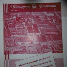 Catálogos publicitarios: CATÁLOGO PUBLICITARIO MENSAJERO PARAMOUNT - ENERO DE 1936. Lote 173368997