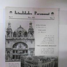 Catálogos publicitarios: GUIA ORIGINAL PUBLICITARIA - ACTUALIDADES PARAMOUNT - MAYO DE 1935. Lote 173369239