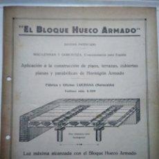 Catalogues publicitaires: EL BLOQUE HUECO ARMADO. MAC-LENNAN Y GOROSTIZA. LUCHANA. BILBAO. PUBLICIDAD AÑOS 20. Lote 173668118