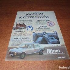 Catálogos publicitarios: PUBLICIDAD 1981: SEAT RITMO. Lote 173681659