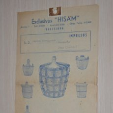 Catálogos publicitarios: CATALOGO PUBLICITARIO EXCLUSIVAS HISAM, BARCELONA. Lote 174388834