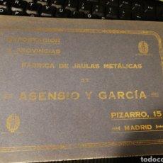 Catálogos publicitarios: FABRICA DE JAULAS METALICAS. ASENSIO Y GARCÍA 1922. 12 PG. Lote 175629674