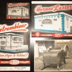 Catálogos publicitarios: HORNOS LASTER, BILBAO. LOTE DE TARJETA Y DOS HOJAS PUBLICITARIAS Y FOTOGRAFÍA DE UN HORNO.. Lote 175972654