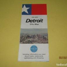 Catálogos publicitarios: ANTIGUO MAPA Y MANUAL TURÍSTICO DE LA CIUDAD DE DETROIT USA OBSEQUIO DE CIA. AÉREA PAN AM AÑO 1969. Lote 176001835