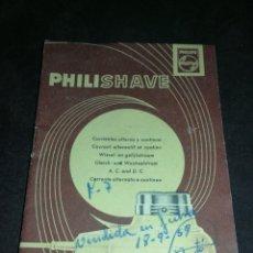 Catálogos publicitarios: MANUAL PHILIPS 1959, MÁQUINA AFEITAR. Lote 177965523