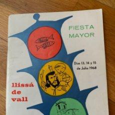 Catálogos publicitarios: PROGRAMA FIESTA MAYOR LLISÁ DE VALL, 1968. Lote 178599346
