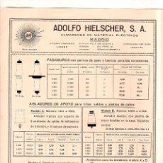 Catálogos publicitarios: CATALOGO PUBLICITARIO ADOLFO HIELSCHER. MATERIAL ELECTRICO. LISTA DE MATERIAL Y PRECIOS. VER.. Lote 178647857