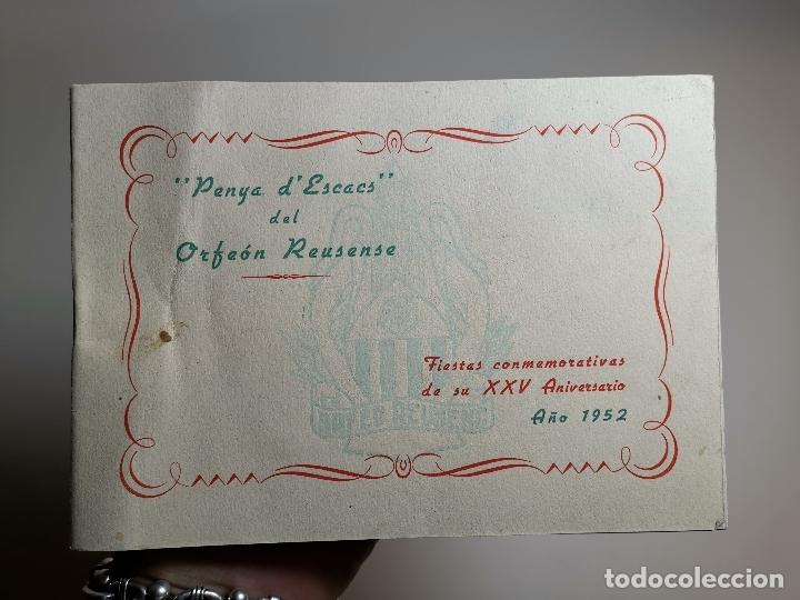 CATALOGO FOLLETO PROGRAMA XXV ANIVERSARIO PENYA ESCACS ORFEON REUSENSE- REUS 1952-AJEDREZ (Coleccionismo - Catálogos Publicitarios)