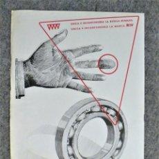 Catálogos publicitarios: ANTIGUA HOJA PUBLICIDAD RODAMIENTOS RIV. Lote 181141135