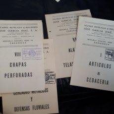 Catalogues publicitaires: TARIFAS DE MOLINERIA Y CHAPA DE JOSE GARCIA EN ZARAGOZA. Lote 181370398
