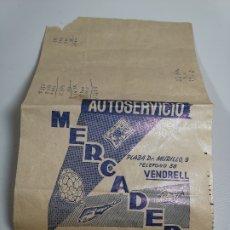 Catálogos publicitarios: BOLSA PAPEL COMERCIO FOLLETO PUBLICIDAD AUTOSERVICIO MERCADER EL VENDRELL AÑOS 50---REF-ZZ . Lote 181462887