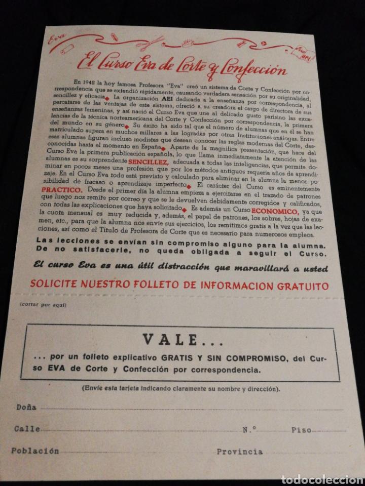Catálogos publicitarios: FOLLETO PUBLICIDAD 1955,ACADEMIA CORTE Y CONFECCIÓN EVA - Foto 3 - 182235692