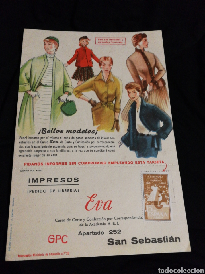 FOLLETO PUBLICIDAD 1955,ACADEMIA CORTE Y CONFECCIÓN EVA (Coleccionismo - Catálogos Publicitarios)
