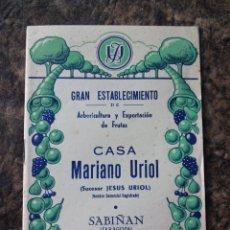 Catálogos publicitarios: CATALOGO VIVEROS CASA MARIANO URIOL TEMPORADA 53 - 54 SABIÑAN. Lote 24544552
