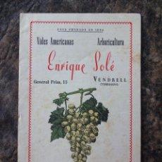 Catálogos publicitarios: CATALOGO VIVEROS ENRIQUE SOLE EL VENDRELL AÑOS 50. Lote 24544774
