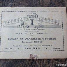 Catálogos publicitarios: CATALOGO VIVEROS VAL TEMPORADA 1952 - 1953 SABIÑAN. Lote 24544885