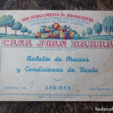 Catálogos publicitarios: CATALOGO VIVEROS CASA JUAN BARRA TEMPORADA 52 - 53 SABIÑAN. Lote 24545138