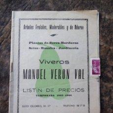 Catálogos publicitarios: CATALOGO VIVEROS MANUEL VERON VAL CALATAYUD AÑO 1967 - 1968. Lote 26167784