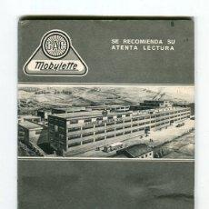 Catálogos publicitarios: MOBYLETTE MANUAL ENGRASE Y FUNCIONAMIENTO GARATE,ANITUA Y CIA. S.A. MUY BIEN CONSERVADO. Lote 182636860